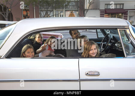 San Diego, California, USA. 17th May, 2018. Ramona California celebrates cruise night on Thursday's in the warmer months on Main Street. The town of 20,000 plus is located in an inland valley geographically centered in San Diego County. Vintage vehicles attract all ages like this gaggle of girls. Credit: John Gastaldo/ZUMA Wire/Alamy Live News - Stock Photo