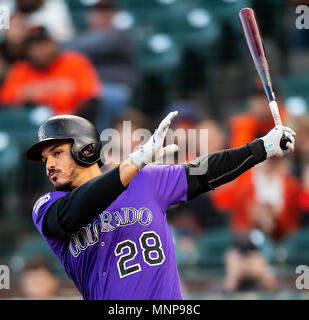 San Francisco, California, USA. 18th May, 2018. Colorado Rockies third baseman Nolan Arenado (28) swings hard, during a MLB baseball game between the Colorado Rockies and the San Francisco Giants at AT&T Park in San Francisco, California. Valerie Shoaps/CSM/Alamy Live News - Stock Photo