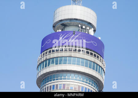 London UK. 19th May 2018. A message of Best Wishes  is screened on BT Tower London for Prince Harry and his fiance US Actress Meghan Markle who are due to marry today at Windsor Chapel which which is drawing international media attention Credit: amer ghazzal/Alamy Live News - Stock Photo