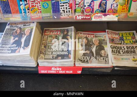 New Mills  Derbyshire  UK 19th. May  2018  The  front page of Daily Star, unlike other tabloids, ignores the Royal Wedding between Prince Harry and Megan Markle. Credit: John Fryer/Alamy Live News - Stock Photo
