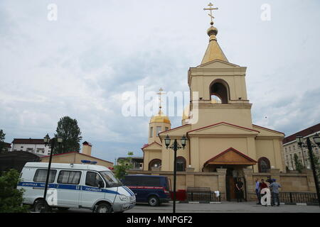 Grozny, Russia. 19th May, 2018.  A view of the Church of Archangel Michael in Grozny, Chechnya, attacked by militants trying to take hostages, armed with knives and smoothbore guns, and killed along with two policemen and one civilian in the course of a police operation; the Russian Investigative Committee has initiated a criminal case. Yelena Afonina/TASS Credit: ITAR-TASS News Agency/Alamy Live News - Stock Photo