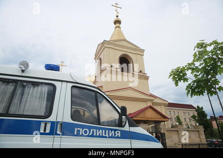 Grozny, Russia. 19th May, 2018.  Outside the Church of Archangel Michael in Grozny, Chechnya, attacked by militants trying to take hostages, armed with knives and smoothbore guns, and killed along with two policemen and one civilian in the course of a police operation; the Russian Investigative Committee has initiated a criminal case. Yelena Afonina/TASS Credit: ITAR-TASS News Agency/Alamy Live News - Stock Photo