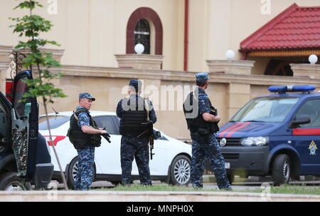 Grozny, Russia. 19th May, 2018. GROZNY, RUSSIA - MAY 19, 2018: Outside the Church of Archangel Michael in Grozny, Chechnya, attacked by militants trying to take hostages, armed with knives and smoothbore guns, and killed along with two policemen and one civilian in the course of a police operation; the Russian Investigative Committee has initiated a criminal case. Yelena Afonina/TASS Credit: ITAR-TASS News Agency/Alamy Live News - Stock Photo