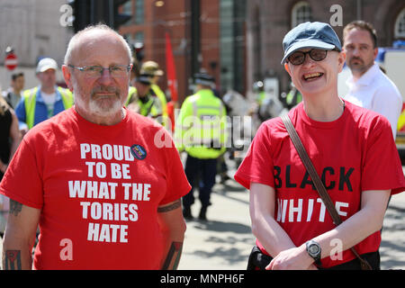 Manchester, UK, 19 May 2018. A man wearing a shirt which reads 'Proud to be what the Tories hate' as he joins hundreds of  anti racists to oppose the Football Lads Alliance who gathered in the Castlefield area to hold a rally, Manchester,19th May, 2018 (C)Barbara Cook/Alamy Live News Credit: Barbara Cook/Alamy Live News - Stock Photo