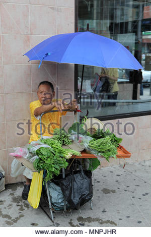 An elderly Chinese man sells vegetables under an umbrella by the side of the road in Toronto's Chinatown. - Stock Photo