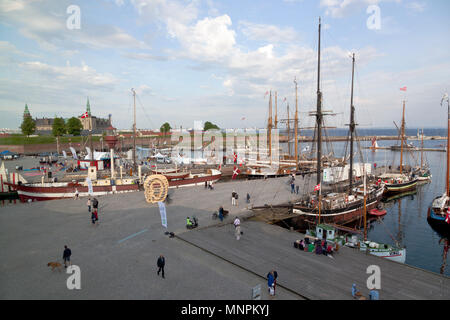 Historical days of more than 100 wooden ships in Elsinore Culture Harbour at Pentecost or Whitsun in Helsingør, Elsinore, Denmark. Kronborg Castle. - Stock Photo