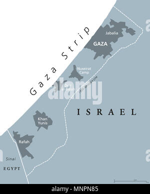 Gaza Strip political map. Self governing Palestinian territory on coast of Mediterranean Sea. Borders to Israel and Egypt. - Stock Photo