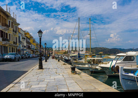 Picturesque view of the town and harbor of Gythio in Peloponnese Greece - Stock Photo