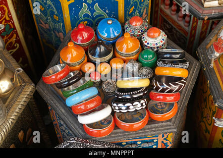 A display of traditioal products In the Souk the Street Market at Jemaa el Fnaa in the Medina Old City in the centre of Marrakech in Morocco. The Souk - Stock Photo