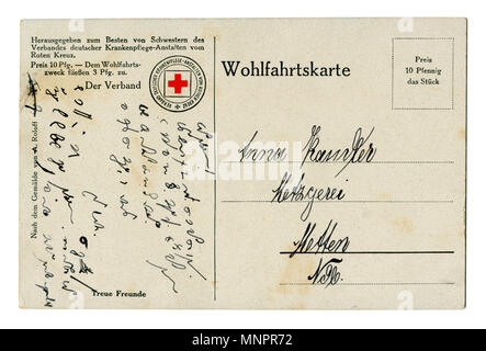 Back of Old German world war I postcard (MNPR6Y) shorthand letter written in black ink. Red cross, 1914-1918, Germany, wwi - Stock Photo