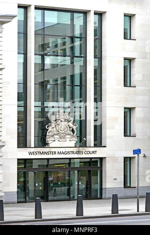 Royal Coat of Arms on front & above entrance to Westminster Magistrates Court courtrooms & law courts building Marylebone Road West London England UK - Stock Photo