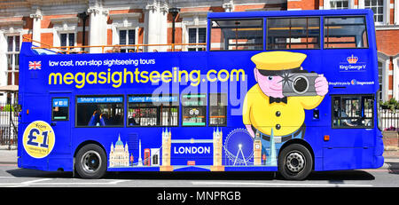 Megasightseeing low cost online London open top sightseeing tour bus by Stagecoach side view graphic advertising & modified Sid mascot logo England UK - Stock Photo