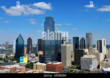 View from Reunion Tower on skyline with skyscrapers, Arts District, Dallas, Texas, USA - Stock Photo