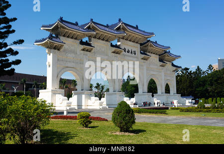 Main gate of national Chiang Kai-shek Memorial Hall in Taipei Taiwan - Stock Photo