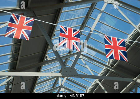 Union Jack flags displayed at  Greenwich market, London during Royal Wedding ceremony of  Harry and Meghan in Windsor Castle on 19 May 2018. England,UK - Stock Photo