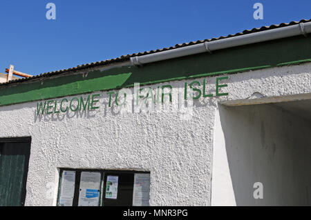 Welcome to Fair Isle signage at the airport when you land on the island - Stock Photo