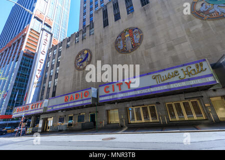New York, USA - May 8, 2018 : View of historic Radio City Music Hall in Midtown Manhattan on Avenue of the Americas. - Stock Photo