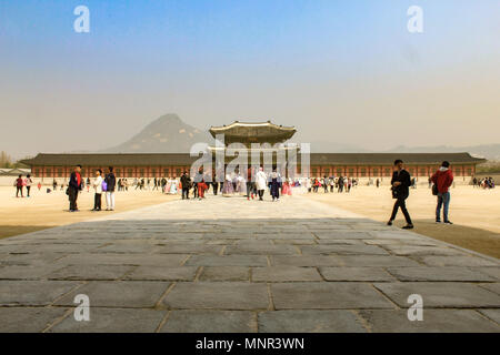 large plaza in front of Heungnyemun Gate at Gyeongbokgung Palace on a sunny day in Seoul, Korea. - Stock Photo