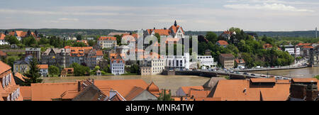 Meissen, Germany. View of the river Elbe, rapid during the flood in June 2013. - Stock Photo