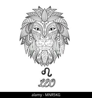 Zendoodle design of Leo zodiac sign for illustration and coloring book page for adult. Stock Vector. - Stock Photo
