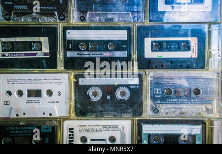 Old audio cassette tapes arranged together - Stock Photo