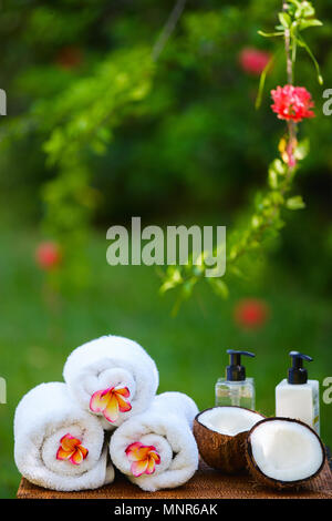 Close up of tropical Spa setting outdoors - Stock Photo