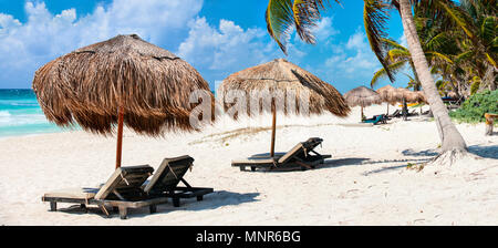 Panorama of Beautiful Caribbean coast in Tulum Mexico - Stock Photo