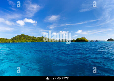 Scenic lagoon of Palau is characterized by hundreds of limestone islands - Stock Photo