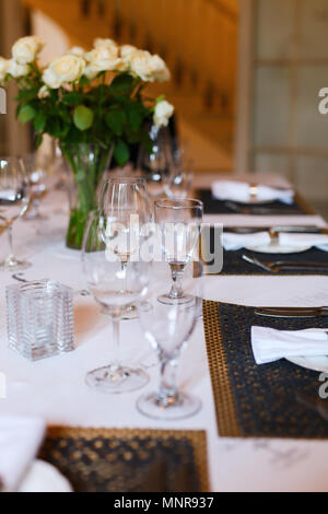 Beautiful table set for a wedding reception or event party - Stock Photo