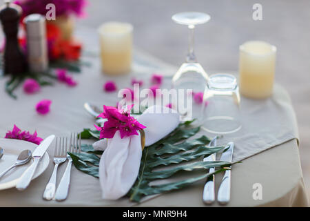 Beautifully served table for romantic event celebration or wedding - Stock Photo