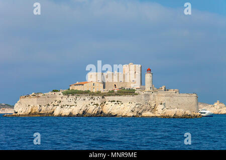 Chateau d'If on Île d'If, former prison island close to Marseille, Bouches-du-Rhone, Provence-Alpes-Côte d'Azur, South France, France, Europe - Stock Photo