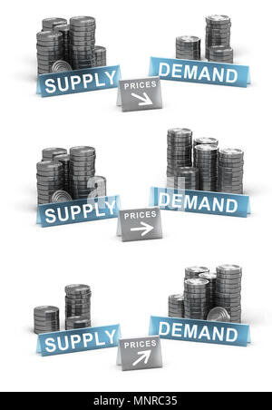3D illustration of supply and demand principle. Generic coins over white background with prices directions - Stock Photo