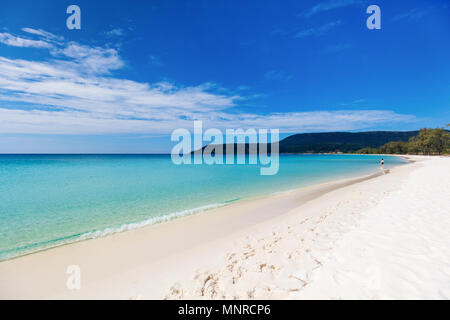 Landscape photo of beautiful white sand exotic beach on Koh Rong island in Cambodia - Stock Photo