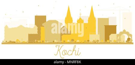 Kochi City Skyline Silhouette in Gold Color. Vector illustration. Simple flat concept for tourism presentation, banner, placard or web site. - Stock Photo