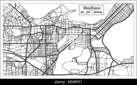 Madison USA City Map in Retro Style. Outline Map. Vector Illustration. - Stock Photo