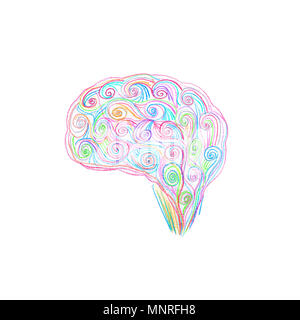 Brain drawing with colored pencils. Creativity concept. - Stock Photo