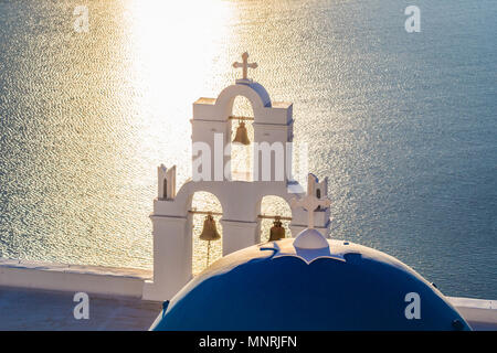 Santorini Bells during sunset - Stock Photo