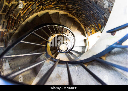 Spiral stairs inside of a historical tower, Wiltz, Luxembourg - Stock Photo