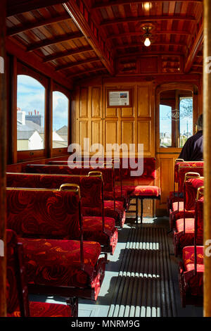 Interior of a Manx Electric Railway tramcar on its way to Douglas, Isle of Man - Stock Photo