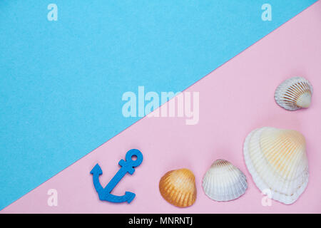 Decorative minimalistic card in pink and neon fashionable tones with the concept of the sea and rest. The sea details like an anchor, steering wheel,  - Stock Photo