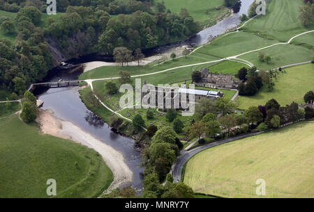 aerial view of Bolton Priory at Bolton Abbey near Skipton, North Yorkshire, UK - Stock Photo