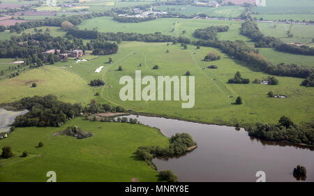 aerial view of the Tabley House Stately Home and grounds, Cheshire, UK - Stock Photo
