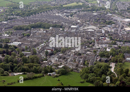 aerial view of Skipton town centre, North Yorkshire, UK - Stock Photo