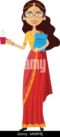 Indian business woman with a cup of tea vector flat cartoon illustration - Stock Photo