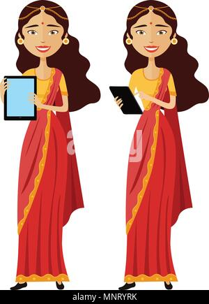 Indian smiling business woman standing with tablet isolated on white background - Stock Photo