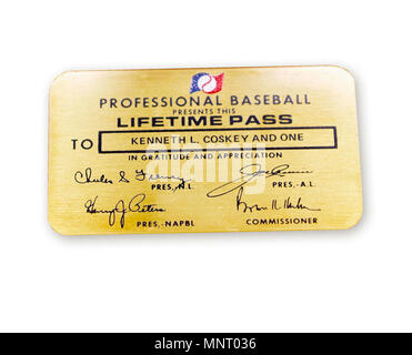 Major League Baseball has occasionally given out its coveted Lifetime Pass, the 'Golden Ticket,' to veterans. On September 6, 1968, North Vietnamese shot down as A6A Intruder piloted by Navy Commander Kenneth Coskey. Held as a prisoner of war in North Vietnam, he was released on March 14, 1973. Major League Baseball presented him with this Lifetime Pass that would allow Coskey and a guest to attend any game for the rest of his life. - Stock Photo