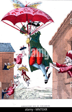 .  English: French caricature on the invention of the parachute. The picture illustrates the fear that young men and women leave their parents, in this case using the newly invented parachute. . late 18th century. Unknown 959 Parachute caricature - Stock Photo