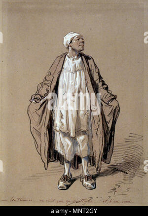 Paul Gavarni (French, 1804-1866). 'Man in Night Dress,' 1804-1866. ink and ink wash with graphite underdrawing heightened with white on brown, moderately thick, slightly textured wove paper. Walters Art Museum (37.1424): Acquired by William T. or Henry Walters. 37.1424 966 Paul Gavarni - Man in Night Dress - Walters 371424 - Stock Photo