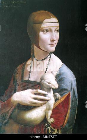 Deutsch: Dame mit dem Hermelin (Porträt der Cecilia Gallerani).[1][2] English: Lady with an Ermine (Portrait of Cecilia Gallerani).[1][2] Español: La dama del armiño (Retrato de Cecilia Gallerani).[1][2] Français: La dame à l'hermine (Portrait de Cecilia Gallerani).[1][2] Polski: Dama z gronostajem (Portret Cecylii Gallerani).[1][2]   circa 1490[2] Alternate: 1483-1490.   804 Leonardo, Die Dame mit dem Hermelin - Stock Photo