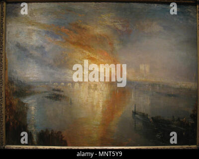 English: The Burning of the Houses of Parliament Deutsch: Der Brand des Parlamentsgebäudes 16 October 1834   1835.   1170 The Burning of the Houses of Lords and Commons, 16 October, 1834, by J. M. W. Turner - Stock Photo